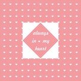 Roze achtergrond met witte harten en uitdrukking over liefde stock illustratie