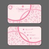 Roze adreskaartje met cirkels Stock Fotografie