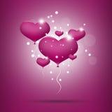 Roze ballonharten voor valentijnskaartendag Stock Foto's