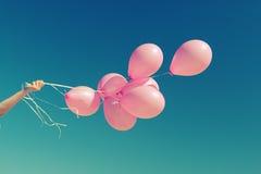 Roze ballons Stock Foto's