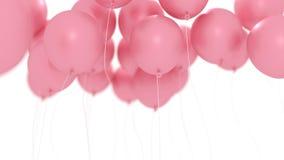 Roze ballons op wit Stock Afbeelding