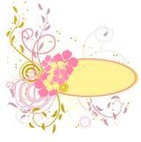 Roze banner met bloemen Stock Foto