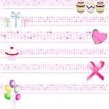 Roze bannersinzameling Royalty-vrije Stock Afbeeldingen