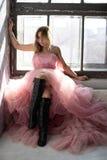 Roze bevroren zwaankleding, ogenblik royalty-vrije stock fotografie