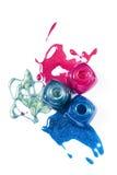 Roze, blauw, marien flikkerend nagellak Stock Afbeeldingen