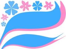 Roze blauwe bloemen royalty-vrije illustratie