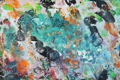 Roze blauwe oranje zwarte zachte mengelingskleuren, het schilderen vlekkenachtergrond, waterverf kleurrijke abstracte achtergrond Royalty-vrije Stock Foto's