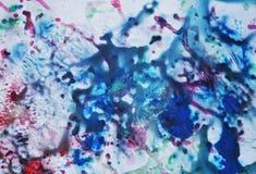 Roze blauwe rode zachte mengelingskleuren, het schilderen vlekkenachtergrond, waterverf kleurrijke abstracte achtergrond Royalty-vrije Stock Afbeelding