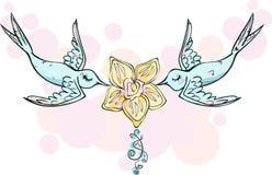 Roze blauwe vogelsminnaars Stock Afbeeldingen
