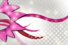 Roze bloem en golven, abstracte achtergrond Stock Afbeeldingen