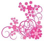 Roze bloem en wijnstokken royalty-vrije illustratie