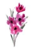 Roze bloemen die in waterverf worden geschilderd Royalty-vrije Stock Afbeeldingen