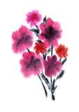 Roze bloemen die in waterverf worden geschilderd Stock Afbeeldingen