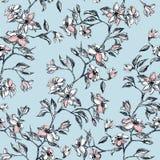 Roze bloemen en bladeren op tak, hand die - naadloos patroon met bloesem op blauwe achtergrond wordt getrokken royalty-vrije illustratie