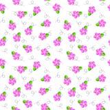 Roze bloemen en groen blad naadloos patroon vector illustratie