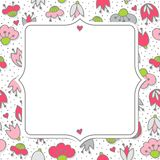 Roze bloemen en harten op wit met retro kaderkaart Stock Foto