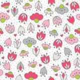 Roze bloemen en harten op wit naadloos patroon Stock Foto