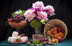 Roze bloemen en heemst Royalty-vrije Stock Afbeeldingen