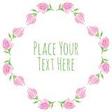 Roze bloemen en verse groene bladerenvector Stock Afbeelding