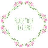 Roze bloemen en verse groene bladerenvector Royalty-vrije Stock Afbeeldingen