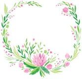 Roze bloemen en verse groene bladerenvector Royalty-vrije Stock Foto's