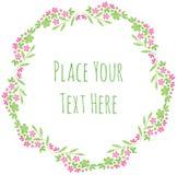 Roze bloemen en verse groene bladerenvector Royalty-vrije Stock Afbeelding