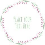 Roze bloemen en verse groene bladerenvector Royalty-vrije Stock Fotografie