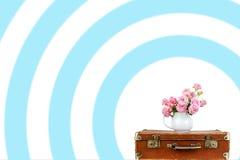 Roze bloemen in kruik op oude bruine uitstekende koffer Royalty-vrije Stock Foto's