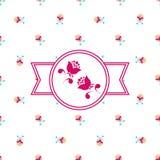 Roze bloemenetiket Royalty-vrije Stock Foto's