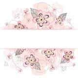 Roze Bloemengrenzenachtergrond Royalty-vrije Stock Fotografie