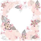 Roze Bloemenhartachtergrond Stock Afbeeldingen