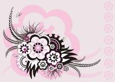 Roze bloemenornament, vectorillustratie Royalty-vrije Stock Fotografie