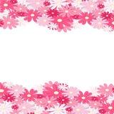 Roze bloemgrens Elegant Uitstekend kaartontwerp Bloemenbehang, horizontaal naadloos patroon Vector illustratie Royalty-vrije Stock Afbeeldingen