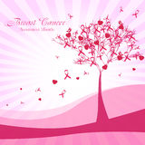 Roze boom met linten en harten De Voorlichtingsmaand van borstkanker Stock Fotografie