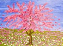 Roze boom, olieverfschilderij Stock Fotografie