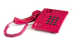 Roze bureautelefoon Stock Foto's