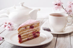 Roze cake royalty-vrije stock afbeelding