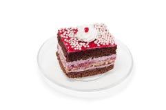 Roze cake op plaat Stock Afbeelding