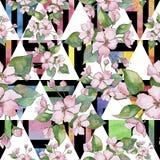 Roze Cherry Blossoms Bloemen botanische bloem Naadloos patroon als achtergrond royalty-vrije illustratie