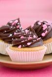 Roze chocolade cupcakes Stock Foto's