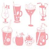 Roze cocktailreeks, grappige cocktails met fruts en bessen, tropi vector illustratie
