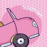 Roze convertibel over kleurrijke achtergrond stock illustratie