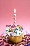 Roze Cupcake en Kaars Stock Foto