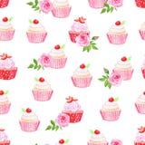 Roze cupcakes vector naadloos patroon Stock Afbeeldingen