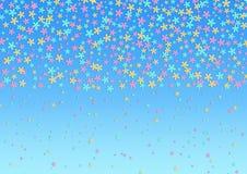 Roze, Cyaan en Gele Bloemen op de Blauwe Achtergrond van Gradated stock illustratie