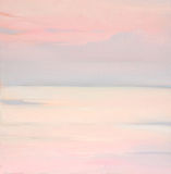 Roze dageraad op het overzees, het schilderen stock afbeelding