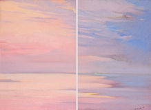 Roze dageraad op het overzees, het schilderen, illustratie Royalty-vrije Stock Afbeeldingen
