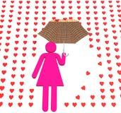 Roze dame in liefderegen Stock Afbeelding