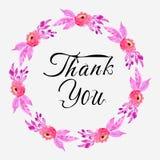 Roze dankt purple van de waterverf bloemenkroon, kader u kaardt vector illustratie