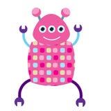 Roze dansend robotkarakter Vectorillustratie, geïsoleerde ontwerpelementen Het glimlachen van drie eyed androïde Stock Afbeeldingen